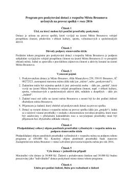 Program pro poskytování dotací z rozpočtu Města Broumova