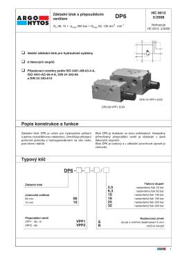 Popis konstrukce a funkce Typový klíč DP6 - - - / - ARGO