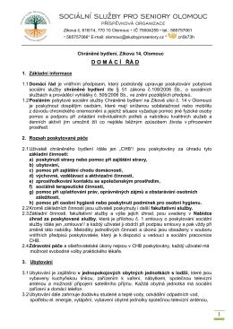 Domácí řád - Sociální služby pro seniory Olomouc