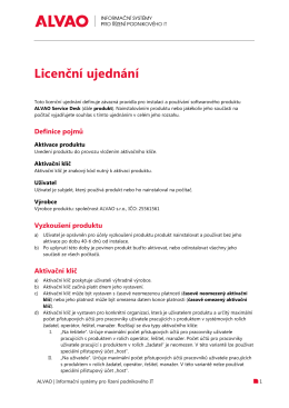 Licenční ujednání pro ALVAO Service Desk ve formátu PDF