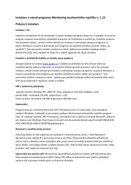 Instalace a návod programu Monitoring insolvenčního