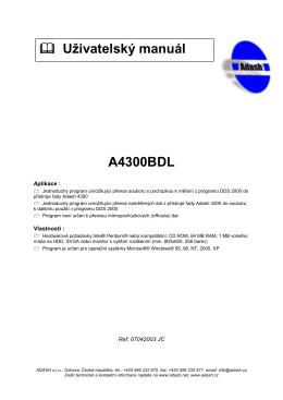 A4300BDL fflfflfflffl Ušivatelskđ manuál