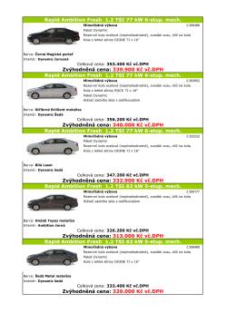 Zvýhodněná cena: 340.000 Kč vč.DPH Rapid Ambition Fresh 1.2