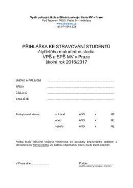 Přihláška pro stravování - Vyšší policejní škola a Střední policejní