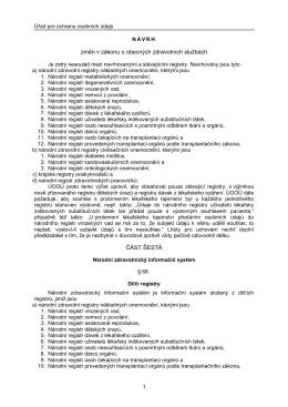 Návrh změn v zákonu o obecných zdravotních službách