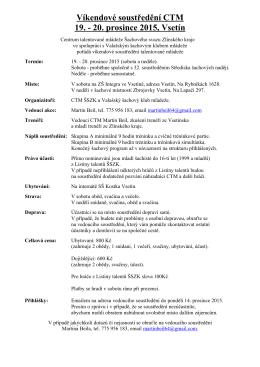 soustředění CTM 19.-20.12.2015 Vsetín PROPOZICE+PROGRAM