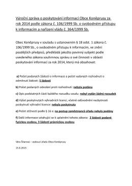 Vyrocni Zprava O Poskytovani Informaci Obce Koneprusy 2014