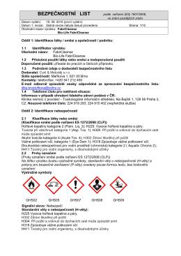 Fabri Cleanse - bezpečnostní list