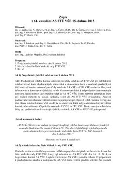 Zápis z 61. zasedání AS FFÚ VŠE 15. dubna 2015