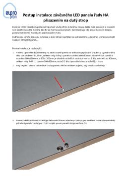 Postup instalace závěsného LED panelu řady HA přisazením na