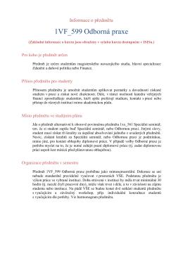 Informace - Katedra veřejných financí