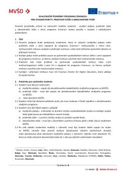 Stránka 1 z 8 KVALIFIKAČNÍ PODMÍNKY PROGRAMU ERASMUS+
