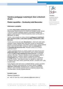 Informace k projektu výměny pedagogů