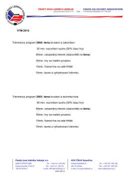 VTM 2015 Tréninkový program 2004: téma bruslení a zakončení 30