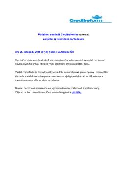 Podzimní seminář Creditreformu na téma: zajištění & promlčení