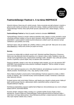 Fashion&Design Festival n. 5 na téma INSPIRACE