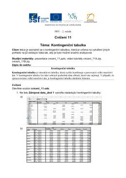 Cvičení 11 Téma: Kontingenční tabulka