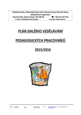 plán dalšího vzdělávání pedagogických pracovníků