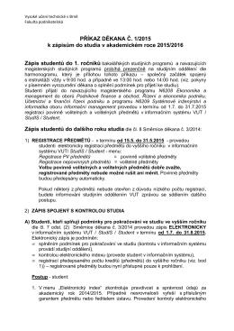 Příkaz děkana č. 1/2015 k zápisům do studia v akademickém roce
