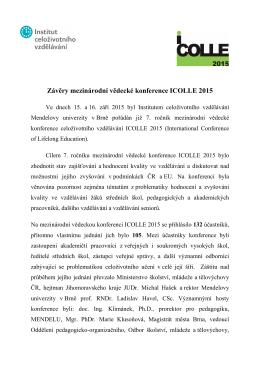 Závěry mezinárodní vědecké konference ICOLLE 2015