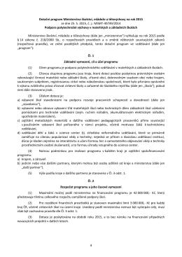 Dotační program Ministerstva školství, mládeže a tělovýchovy na rok
