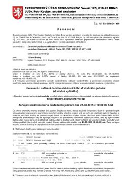 Usnesení o nařízení dalšího elektronického dražebního jednání(63