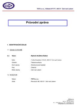 Průvodní zpráva - Bytové družstvo Bukov, Ústí nad Labem