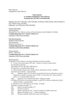 Výpis usnesení ze zasedání Zastupitelstva obce Oslavice 1/2015