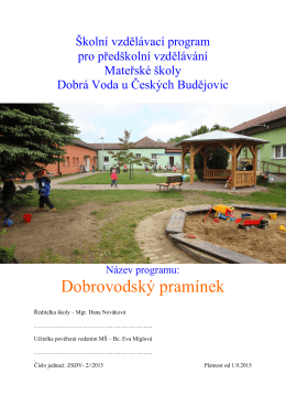 Školní vzdělávací program - ZŠ a MŠ Dobrá Voda u Českých