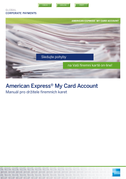 My Card manuál pro držitele - American Express Global Corporate