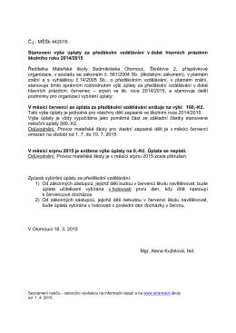Č.j.: MŠŠk 442015 Stanovení výše úplaty za předškolní vzdělávání v
