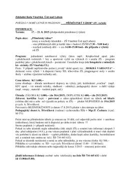 Základní škola Vinařská Ústí nad Labem POŘÁDÁ V DOBĚ