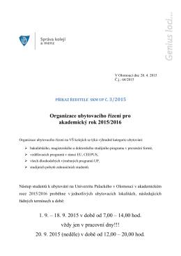 Organizace ubytovacího řízení pro akademický rok 2015/2016 1. 9