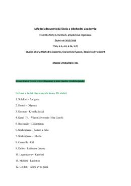 Kánon literárních děl - Střední zdravotnická škola a Obchodní