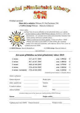Závazná přihláška na letní příměstský tábor 2015