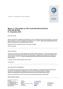 Memo 11: FSC Update on FSC Controlled Wood
