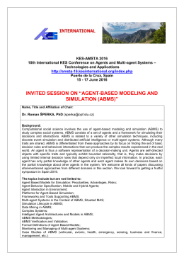 agent-based modeling and simulation (abms) - KES-AMSTA-16