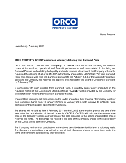 News Release Luxembourg, 7 January 2016 ORCO PROPERTY