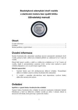 Uživatelský manuál Úvodní informace Ovládání