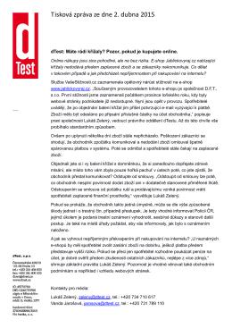Tisková zpráva ze dne 2. dubna 2015