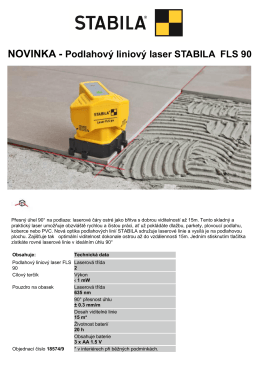 NOVINKA - Podlahový liniový laser STABILA FLS 90