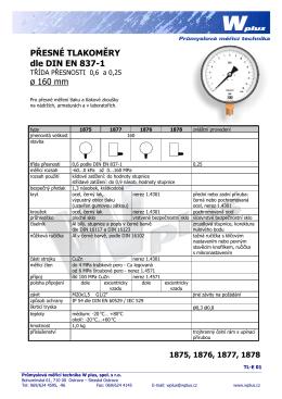 PŘESNÉ TLAKOMĚRY dle DIN EN 837-1 ř 160 mm