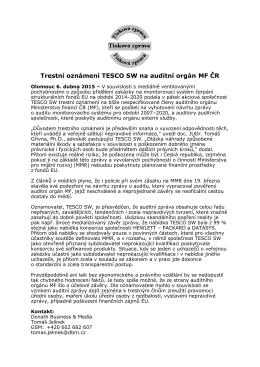 Trestní oznámení TESCO SW na auditní orgán MF ČR