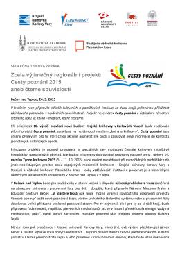 Regionální projekt Cesty poznání - Studijní a vědecká knihovna
