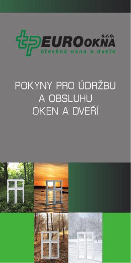 Pokyny pro údržbu a obsluhu oken a dveří