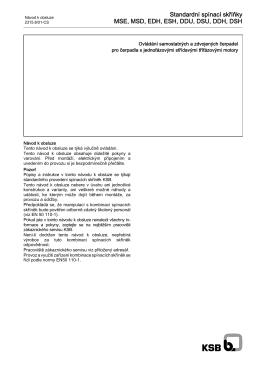 Standardní spínací skříňky MSE, MSD, EDH, ESH, DDU, DSU, DDH