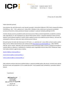 ohledně Kontrolního hlášení k DPH a Elektronické - Icp