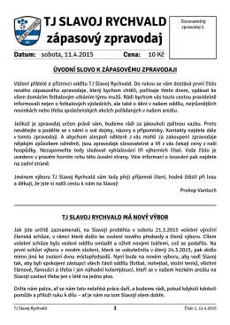 Zápasový zpravodaj č. 1-2014/15 11.4.2015