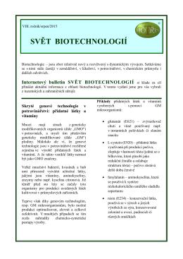 Svět biotechnologií 2015/08