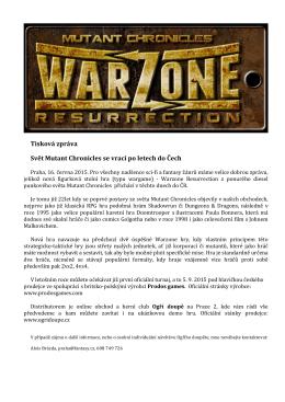 Tisková zpráva Svět Mutant Chronicles se vrací po
